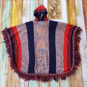 Vtg Contempo Woven Fringe Hooded Poncho